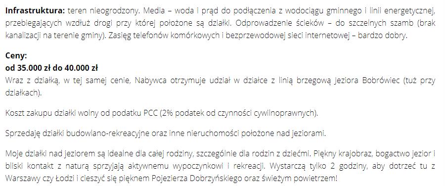 Działki rekreacyjne nad jeziorem Kopiec/Bobrówiec w miejscowości Kleszczyn, Moje Miejsce